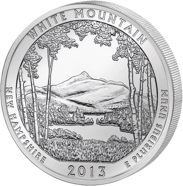 Quarter Dollar USA New Hampshire White Mountain National Forest 2013