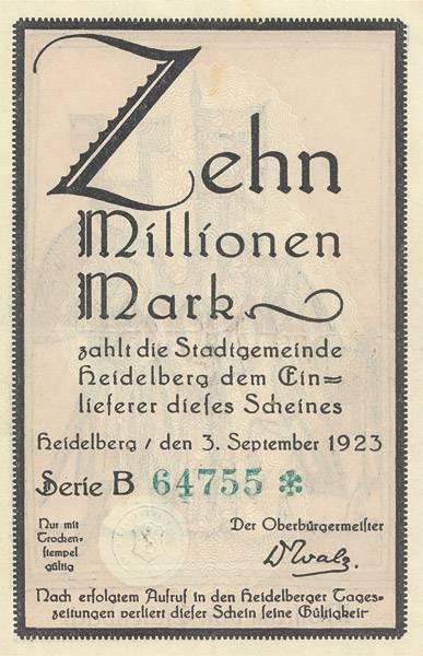 10 Mio. Mark Notgeld Heidelberg Serie B Wolfram von Eschenbach