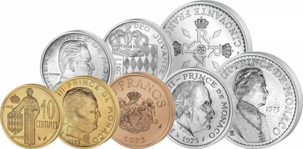 10 Centimes-50 Francs Kursmünzensatz Monaco Fleurs de Coins 1975 Stempelglanz