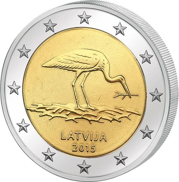 2 Euro Lettland Schwarzstorch-Schutzprogramm 2015 prägefrisch