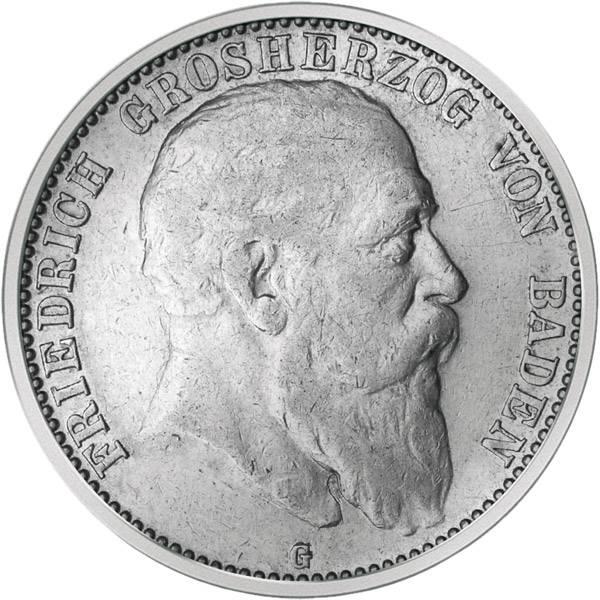 2 Silber Mark Baden Friedrich I. 1902-1907 Sehr schön