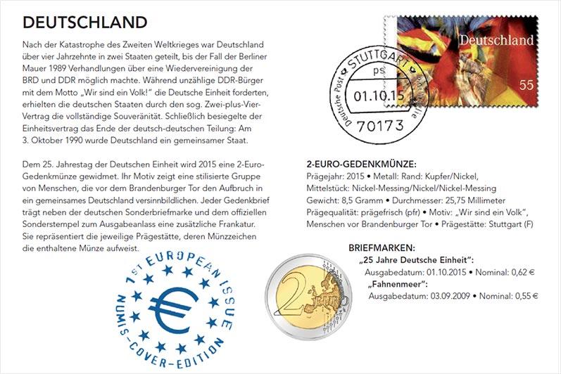 5 X 2 Euro Numisbrief Brd 25 Jahre Deutsche Einheit 2015