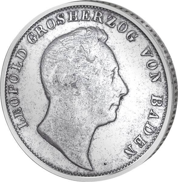 ½  Gulden Baden Großherzog Leopold  1838-1846  Sehr schön