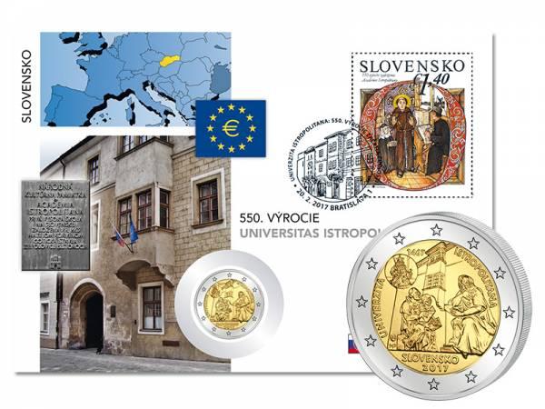 2 Euro Numisbrief Slowakei 550 Jahre Universität Istropolitana 2017