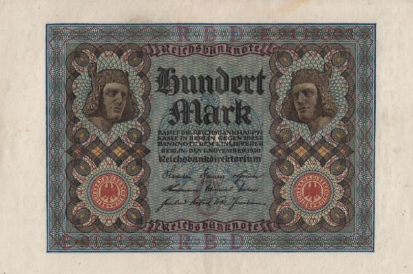 100 Mark Weimarer Republik Banknote Bamberger Reiter