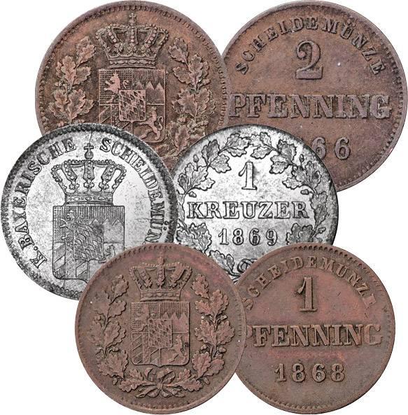 1 und 2 Pfennige, 1 Kreuzer Bayern König Ludwig II.