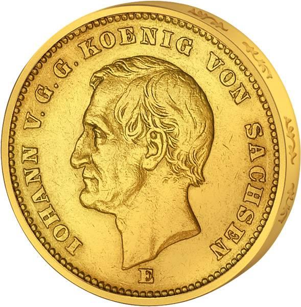 20 Mark Sachsen König Johann 1872 Sehr schön