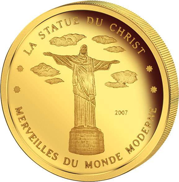 1.500 Francs Elfenbeinküste Christus-Statue Rio 2007 Polierte Platte
