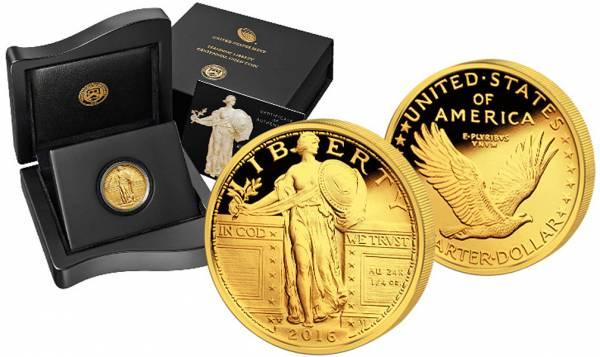 1/4 Unze USA Standing Liberty Centennial Gold Coin