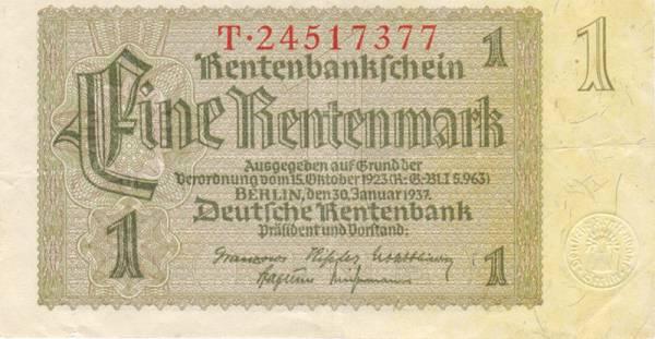 1 Rentenmark Deutschland 1937 gebraucht