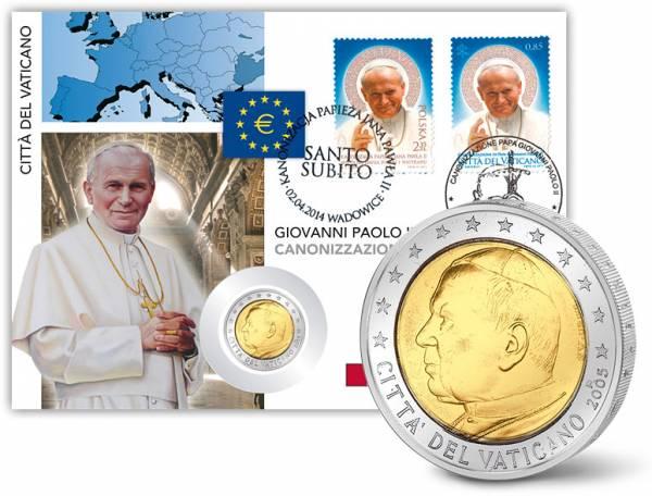 2 Euro Numisbrief Vatikan Heiligsprechung Johannes Paul II