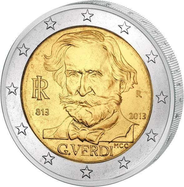 2 Euro Italien 200. Geburtstag Giuseppe Verdi 2013 prägefrisch