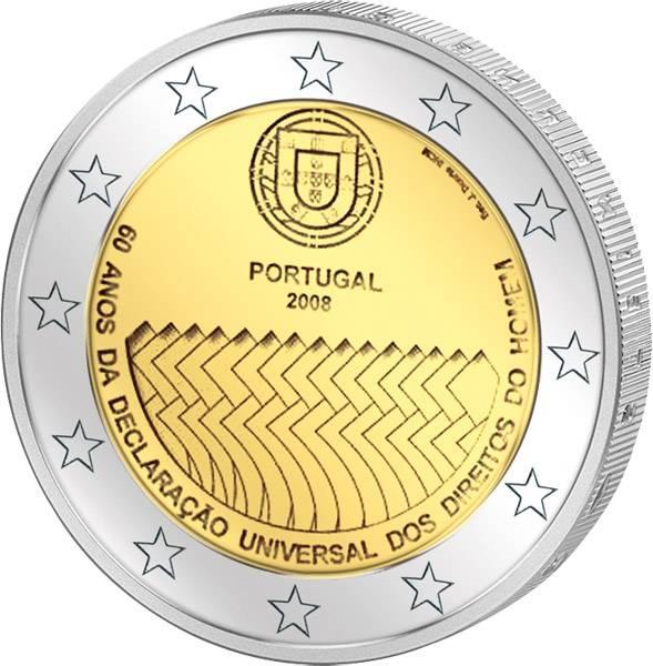 2 Euro Portugal 60 Jahre Menschenrechte 2008 prägefrisch