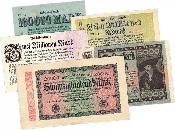 Inflation-Set 5 Werte 1926-37 kassenfrisch
