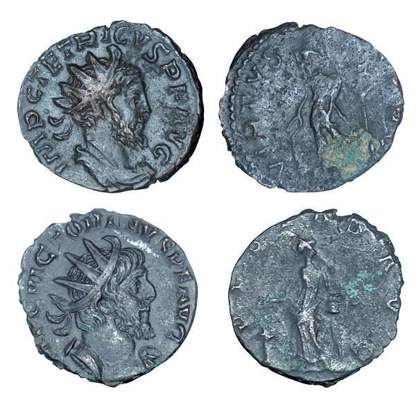 2er Set Die gallischen Gegenkaiser Antoninian Victorinus und Tetricus I. Römisches Kaiserreich 268-273 n.Chr. s-ss