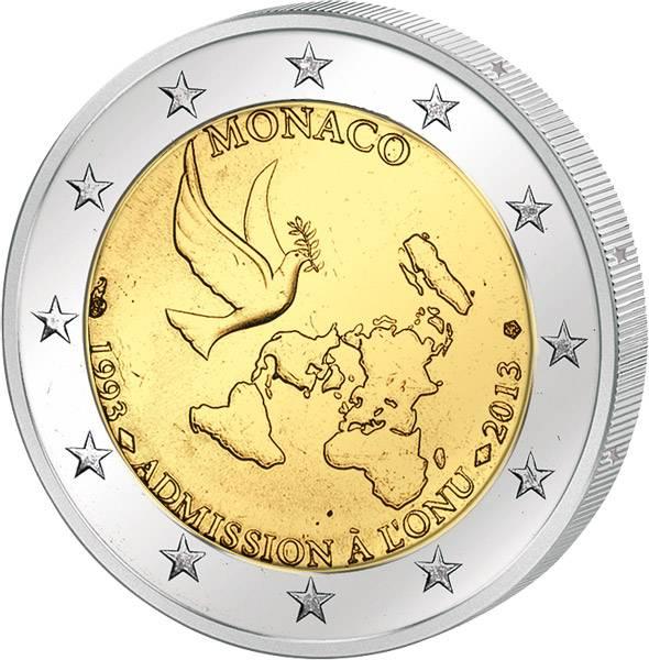 2 Euro Monaco 20 Jahre Mitglied der UN st 2013 prägefrisch