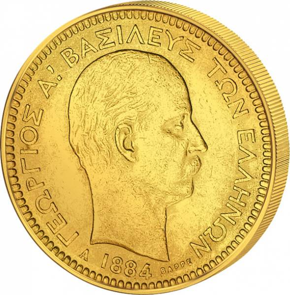 20 Drachmen Griechenland König Georg I. 1884 ss-vz