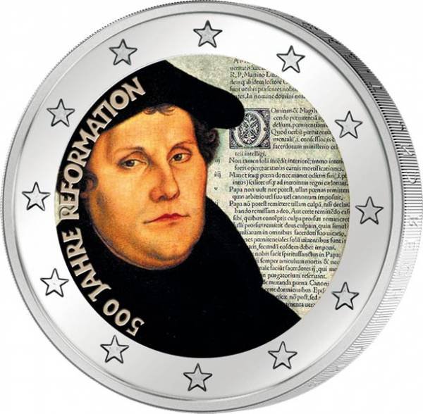 2 Euro BRD 2017 mit Farb-Applikation Martin Luther 500 Jahre Reformation