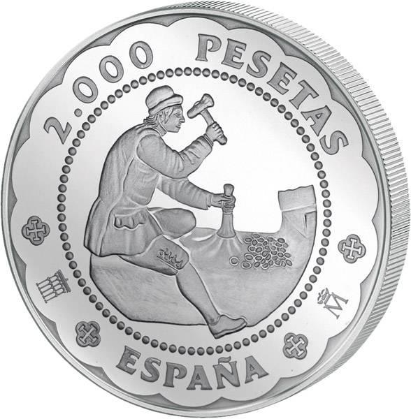 2.000 Peseten Spanien 500. Geburtstag der Prägestätte Segovia 2001 Polierte Platte