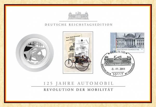 10 Euro BRD 125 Jahre Automobil im Reichstagszertifikat 2011 Stempelglanz