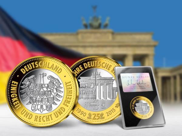 Startausgabe: Gedenkprägung BRD 25 Jahre Deutsche Einheit 2014 Polierte Platte