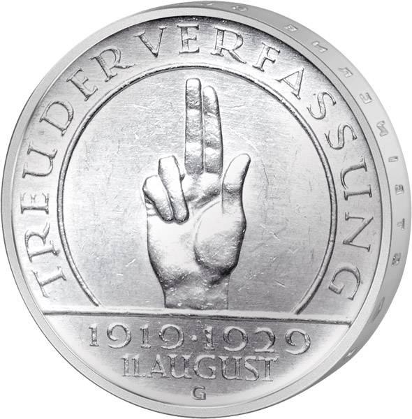 3 Mark Weimarer Republik Verfassung 1929 Sehr schön