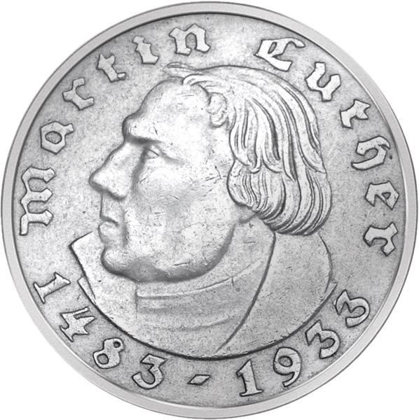 2 Reichsmark Drittes Reich 450. Geburtstag Luthers 1933 Sehr schön