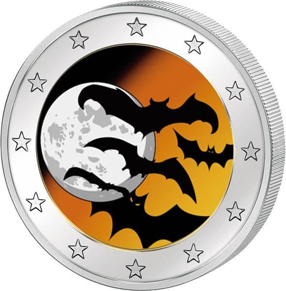 2 Euro BRD mit Farb-Applikation Halloween