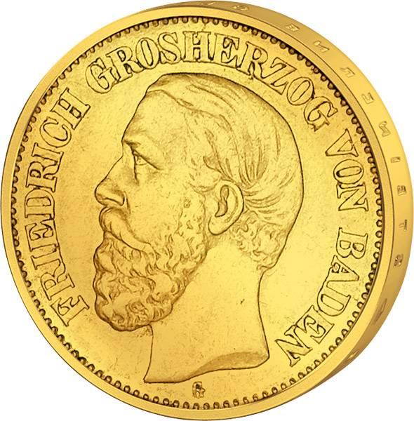 20 Mark Gold Baden Friedrich I. 1874 Sehr schön