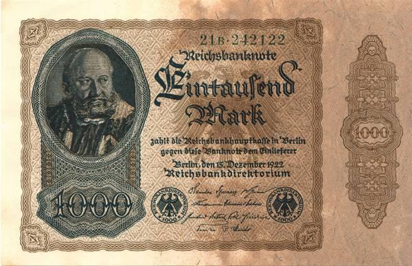 1.000 Mark Weimarer Republik Reichsbanknote ohne Überdruck