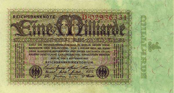 1 Milliarde RM Dt. Reich Banknote