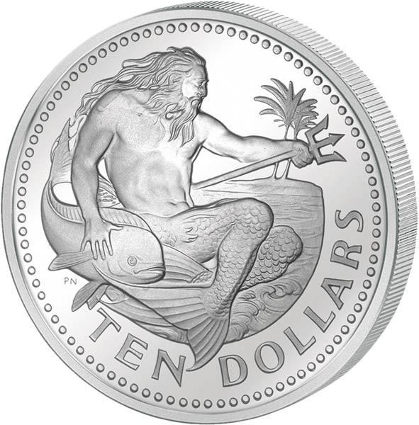10 Dollars  Barbados Neptun  1973-1976  Polierte Platte