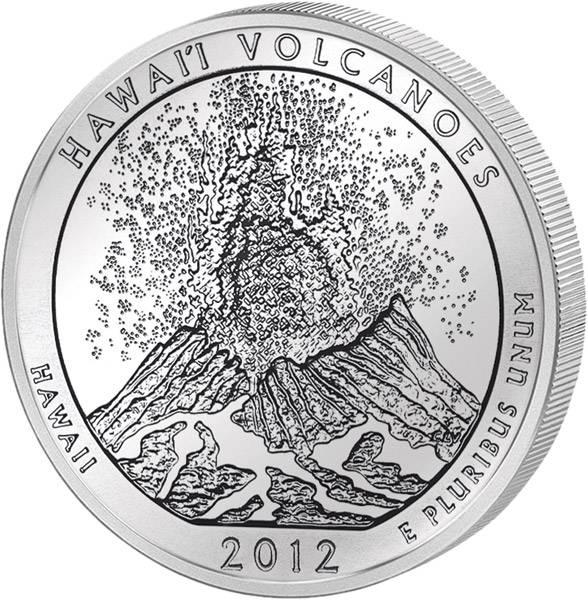 Quarter Dollar USA Hawaii Volcanoes Nationalpark 2012 prägefrisch