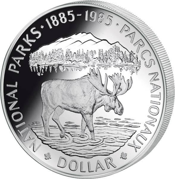1 Dollar Silberdollar Nationalpark 1985  Polierte Platte