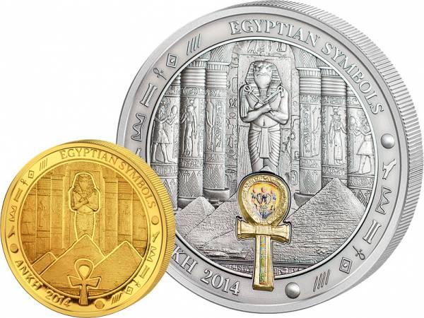 1 Dollar und 20 Dollars Palau Ägyptische Symbole Ankh 2014