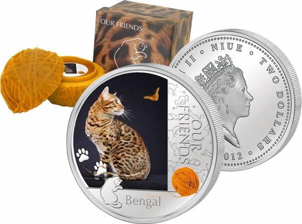 2 Dollar Niue Bengalkatze 2012 Polierte Platte (PP)