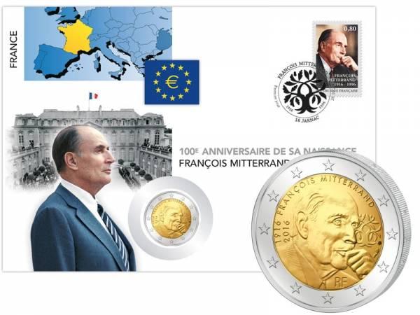 2 Euro Numisbrief Frankreich 100. Geburtstag & 20. Todestag François Mitterrand 2016
