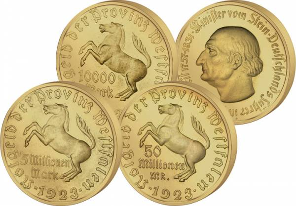 Set 10.000, 5 Mio., 50 Mio Mark Westfalener Notgeld 1921-1923 ss-vz
