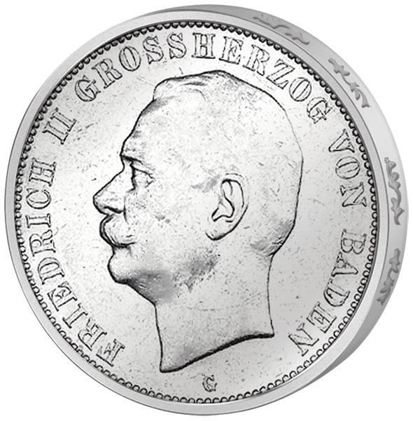 3 Mark Baden Großherzog Friedrich II. von Baden 1908-1915 Sehr schön