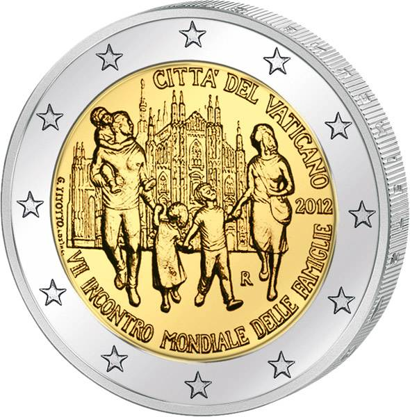 2 Euro Vatikan 7. Weltfamilientreffen Mailand 2012 prägefrisch