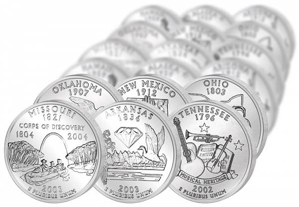 56 x 25 Cent USA State Quarters und Territorien