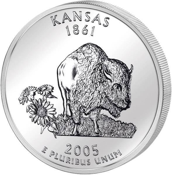 Quarter Dollar USA Kansas 2005