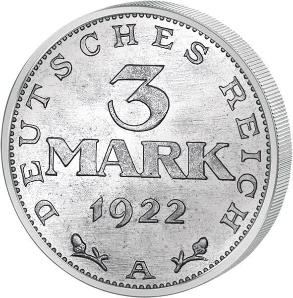 3 Mark Weimarer Republik Adler ohne Inschrift 1922 A ss-vz