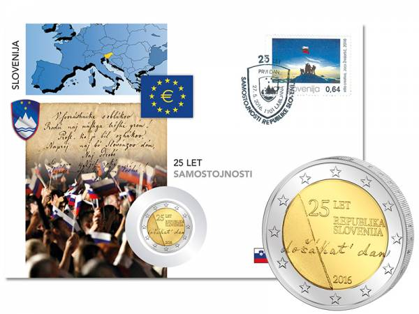 2 Euro Numisbrief Slowenien Unabhängigkeit der Republik Slowenien 2016