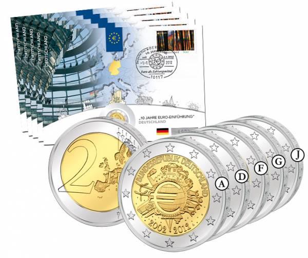 5 x 2 Euro Numisbrief BRD 10 Jahre Euro Bargeld 2012 A - J prägefrisch