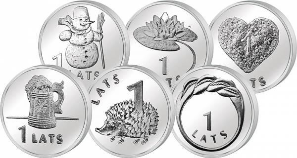 5 x 1 Lats Lettland verschiedene Motive 2008-2012 prägefrisch