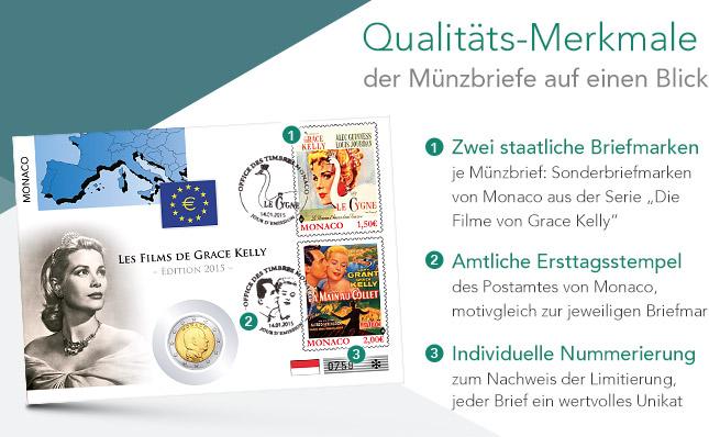 Qualitäts-Merkmale der Münzbriefe auf einen Blick - Zwei staatliche Briefmarken, Amtliche Ersttagsstempel, Individuelle Nummerierung
