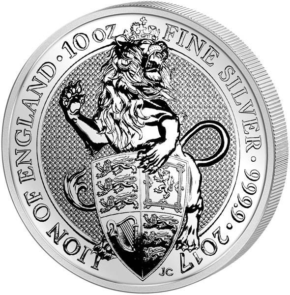 10 Unzen Silber Großbritannien Queens Beasts Löwe  2017