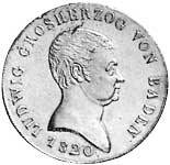 Kronentaler Silber Ludwig von Baden 1819-21 Sehr schön