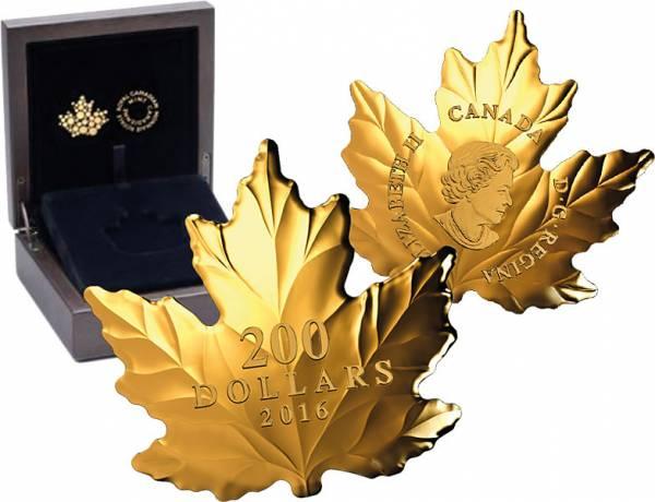 200 Dollars Kanada Maple Leaf Gold-Silhouetten-Münze